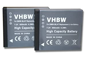 vhbw 2 x Akku Set 600mAh (7.2V) mit Infochip für Kamera Panasonic Lumix DMC-GM1, DMC-GM1KS wie DMW-BLH7, DMW-BLH7E, DMW-BLH7PP.
