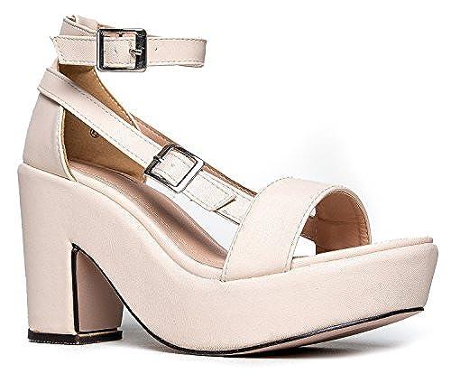 15. Chunky Platform Strappy Sandal – Ankle Strap Block Heel - Flatform Casual Shoe Remy by J. Adams