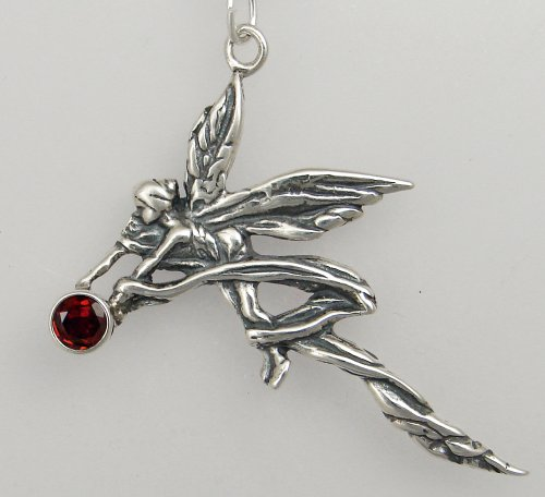 Sterling Silver Ribbon Fairy w/ Faceted Garnet