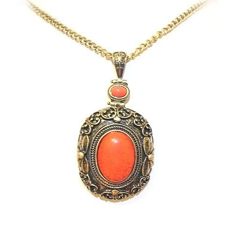 Top Value Jewelry- Beautiful Antique Coral Stone Pendant Sweater Necklace For Women- Super Cute!!