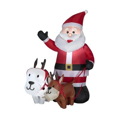 Airblown Outdoor Santa With Dogs Scene front-962852