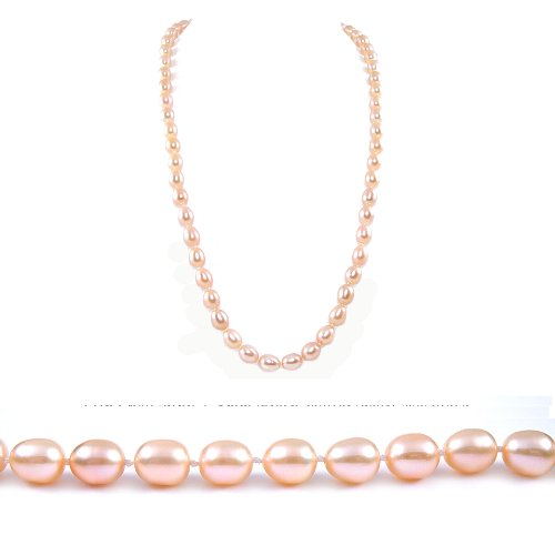 AugustinaJewelry Single Strand 22 Inch 7-8mm pink Oval Shape Freshwater Cultured Pearl Necklace