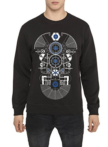 Felpe Moda Designer, Style Rock da Uomo, Felpa Nera con Stampa de Metal - AMATEUR Sweatshirt Grafica 3D Design, 100% Cotone Jersey, Girocollo, Manica lunga, Tops Urban Fashion per Uomo S M L XL XXL