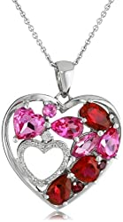 Sterling Silver Created Ruby and Created Pink Sapphire Double Heart Diamond Pendant Necklace, 18""