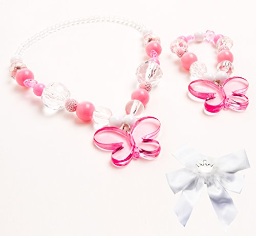 Little Adventure Pink Crystal Butterfly Kids Chunky Necklace & Bracelet with Bow