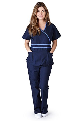 Natural Uniforms Women's Contrast Mock Wrap Scrub Set (Navy Blue) (Large) (Natural Uniforms Scrubs compare prices)