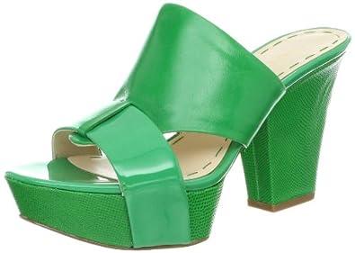 Nine West Women's Illuminate Platform Sandal,Green/Green Leather,8 M US