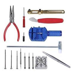 IC ICLOVER 16 Pcs Watch Repair Tool Set Wrist Watch Strap Adjust Pin Tool Kit Back Remover