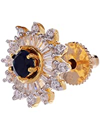 Gehnamart Yellow Gold Plated Black American Diamond And Cubic Zirconia Designer Stud Earring