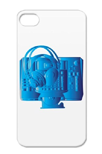 Tpu Mixer Dance Electronica Design Tattoo Music Headphones Dj Blue Music Dance Electronica Navy Cover Case For Iphone 4 Mixer & Headphones