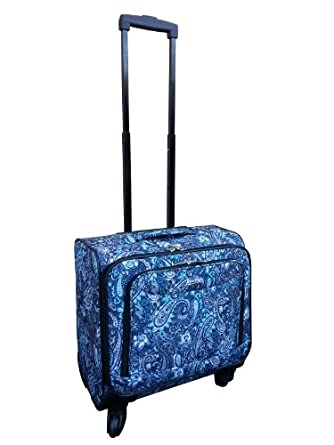 Jourdan Underseat Carry-on Wheeled Spinner Luggage in 5 Patterns and Colors (Blue Paisley)