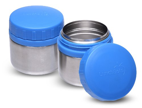 LunchBots Rounds Stainless Round Container, 8-Ounce, Blue, Set of 2