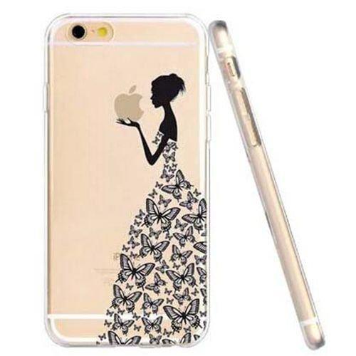 JIAXIUFEN TPU Gel Silicone Protettivo Skin Custodia Protettiva Shell Case Cover Per Apple iPhone 6 6S (normale 4.7 pollici Schermo)- Henna Series Apple Butterfly Girl