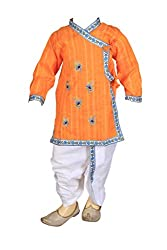 FOCIL ORANGE peacock feather EMBROIDERED KURTA and dhoti PANT SET FOR KIDS