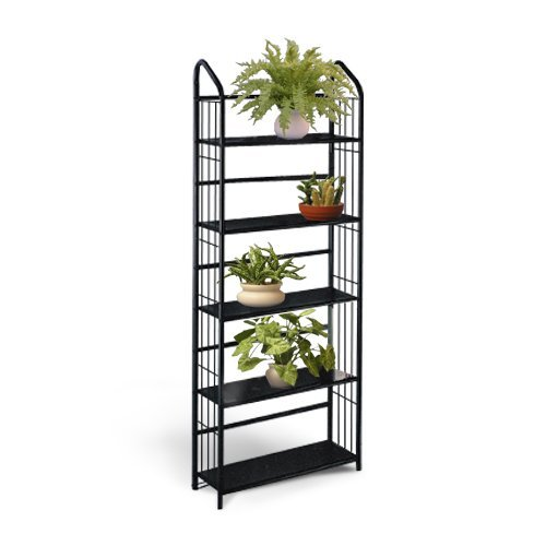Black Metal Outdoor Patio Plant Stand 5 Tier Shelf Unit (Tall Plant Stand compare prices)