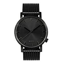 buy Moti Modern Watch (Unisex) - Black With Black Leather Strap
