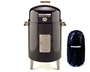 Brinkmann 810-5301-V Smoke'N Grill Charcoal Smoker and Grill with Vinyl Cover, Black