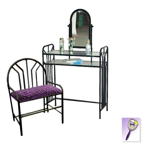 New Black Metal Finish Make Up Vanity Table with Mirror & Purple Zebra Print Themed Bench
