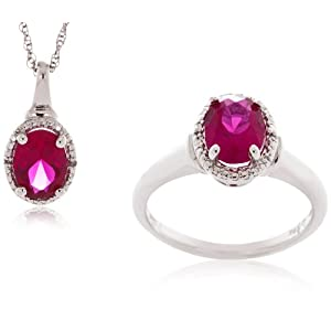 Sterling Silver Created Ruby and Diamond Ring and Pendant Set (0.012cttw, I-J Color, I2-I3 Clarity), 18