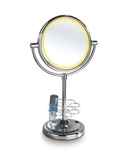Mirror-Smart-Led-Surrounded-7-Double-Sided-Table-Top-Hd-Mirror-With-Beauty-Tools-Holder-Normal-Zoom-And-3X-Zoom