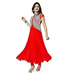 Fab Glory Women's Red Semi-Stitched Georgette Dress Material (Red_Free Size)