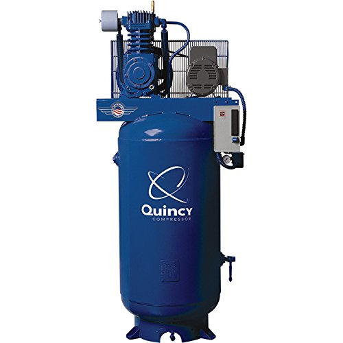 - Quincy Qt-5 Splash Lubricated Reciprocating Air Compressor - 5 Hp, 230 Volt, 1 Phase, 80-Gallon Vertical, Model# 251Cs80vcb