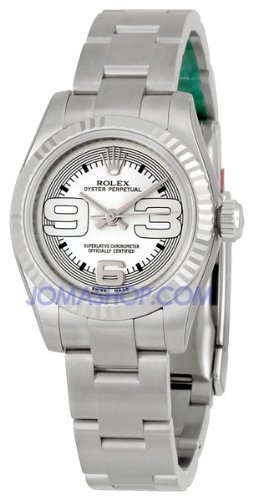 Rolex Ladies Oyster Perpetual No-Date Watch with Fluted Bezel 176234SMAXI