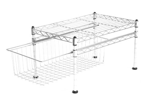 Seville Classics 11-1/2-Inch by 17-1/2-Inch by 10-Inch Single Basket Organizer, Chrome