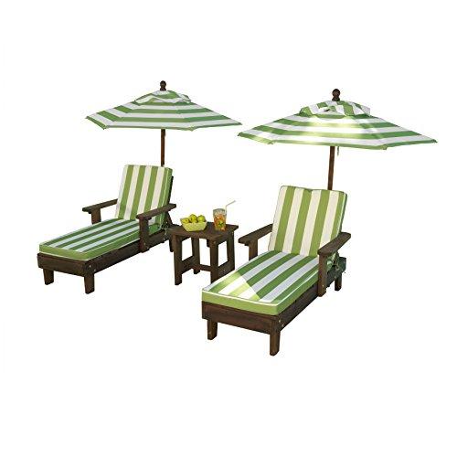 KidKraft Wooden Kona 2 Chaise and Umbrella Set