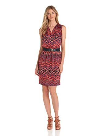 Anne Klein Women's Petite Ikat Print V-Neck Dress, Navy Multi, Large