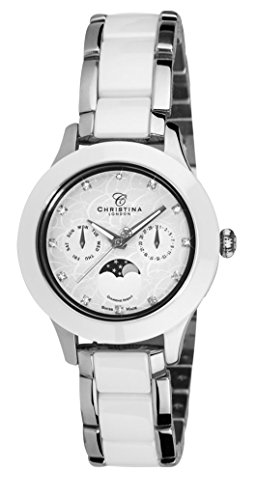 Christina Design London Diamond Night Moonphase women's quartz Watch with white Dial analogue Display and silver stainless steel Bracelet C307SW