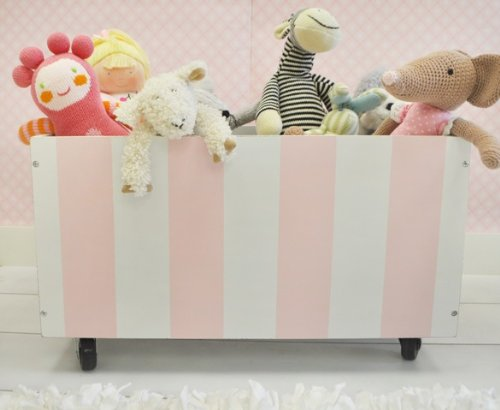New Arrivals Wooden Toy Crate In Pink, Pink/White front-976168