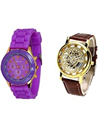 COSMIC COMBO WATCH- PURPLE COLORFUL STRAP ANALOG WATCH FOR WOMEN AND BROWN ANALOG SKELETON WATCH FOR MEN