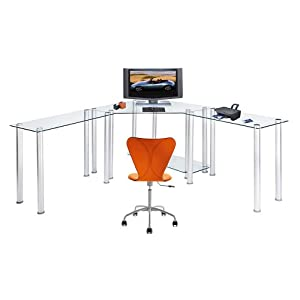 RTA Home and Office Large Corner Glass Computer Desk, Clear, Glass