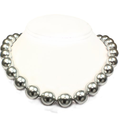 Mother of Pearl Necklace - High Polished Silver Gray (14mm)