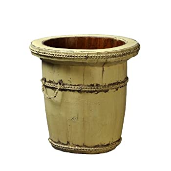 Antique Revival Wooden Planter Bucket, Butter Finish