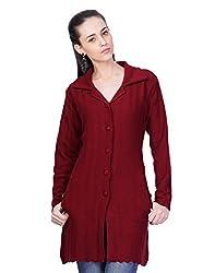 Montrex Maroon Designer Long Coat For Women