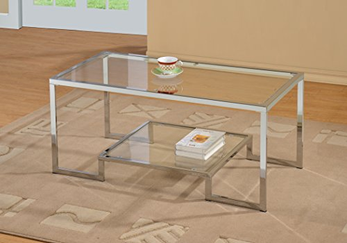 Chrome Metal Glass Accent Coffee Cocktail Table with Shelf (Accent Coffee Table compare prices)