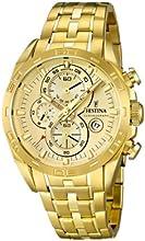 Comprar Festina F16656/2 - Reloj analógico de cuarzo para hombre, correa de acero inoxidable chapado color dorado (cronómetro)