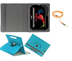 Gadget Decor (TM) PU LEATHER Rotating 360° Flip Case Cover With Stand For Anwyn AERO-AW-T702  + Free Aux Cable -Aqua Blue