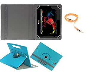 Gadget Decor (TM) PU LEATHER Rotating 360° Flip Case Cover With Stand For datawind 7DCX+ + Free Aux Cable -Aqua Blue