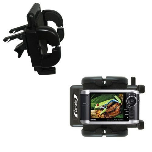 Gomadic Air Vent Clip Based Cradle Holder Car / Auto Mount suitable for the Epson P-3000 Multimedia Photo Viewer - Lifetime Warranty