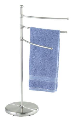 WENKO 16842100 Porta asciugamani e appendiabiti Adiamo - 3 bracci regolabili in altezza, Acciaio, 28.5 x 90 x 53 cm, Opaco