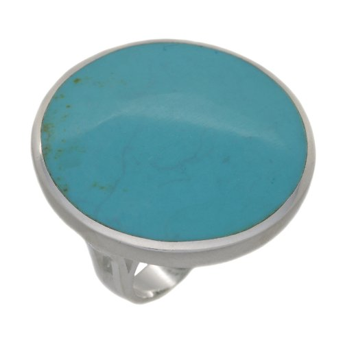 Silver Large Round Turquoise Ring