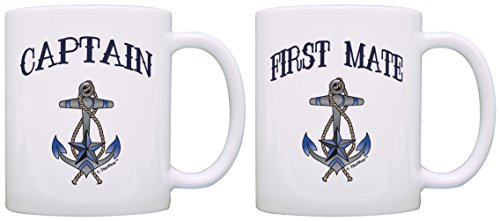 Captain First Mate Couples Nautical Décor Sailing Boat Bundle 2 Pack Gift Coffee Mugs Tea Cups White