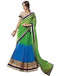 Inddus Women Green & Blue Unstitched Embroidered Lehenga Choli