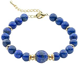 Gold Plated Blue Lapis Lazuli Bracelet 19cm With Extender Chain