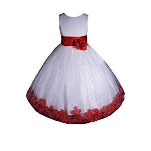 White/Red Flower Girl Dress