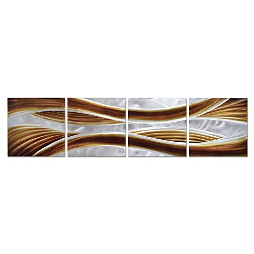 Caramel Desire Metal Wall Art, Large Scale Metal Wall Decor in Abstract Design, 3D Wall Art for Contemporary Décor, 4-Panels Measures 51