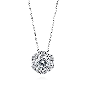 BERRICLE Sterling Silver Round Cubic Zirconia CZ Halo Art Deco Pendant Necklace 16